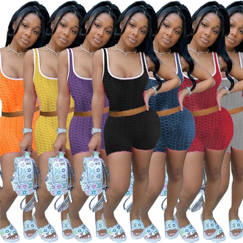 2XL Women Yoga tracksuits Summer Sweatsuits Two pieces Joggers Tank top+shorts Plain outfits Casual Fitness sportswear Swimming Camisole Plus size Swimwears 4747