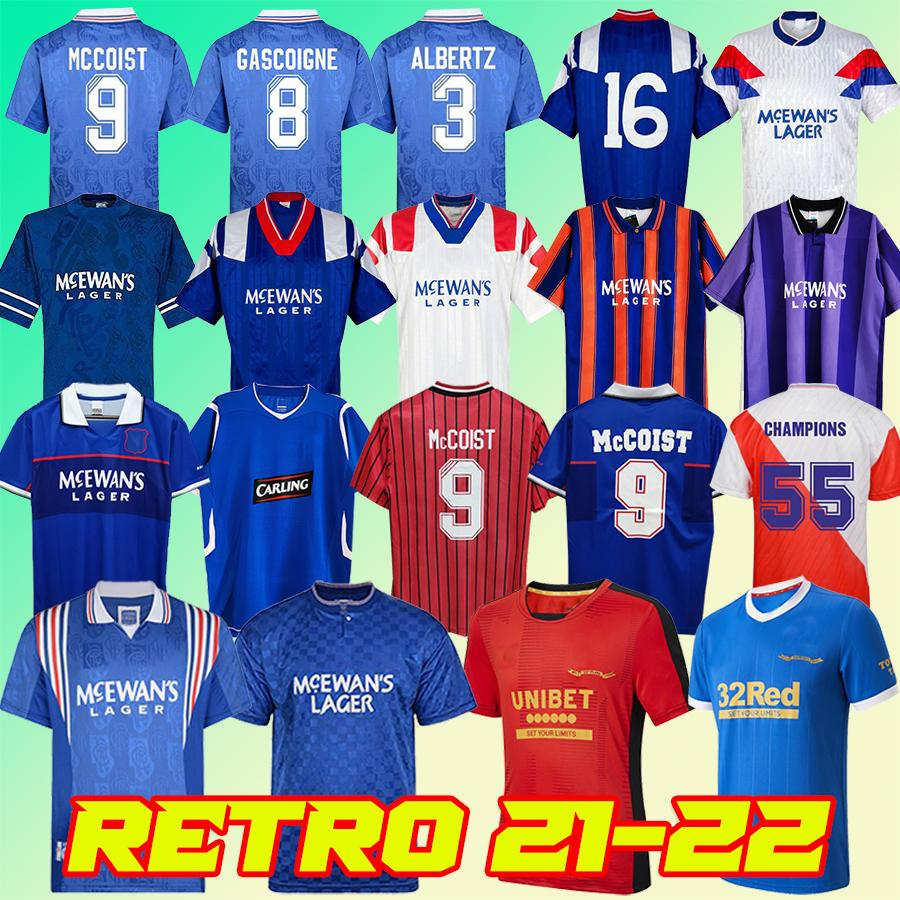 Retro 21 22 Glasgow Rangers FC 150th Anniversary Soccer Jerseys 2021 2022 CHAMPIONS Football Shirt GASCOIGNE 87 90 92 94 96 97 99 01 KENT LAUDRUP MCCOIST Uniforms