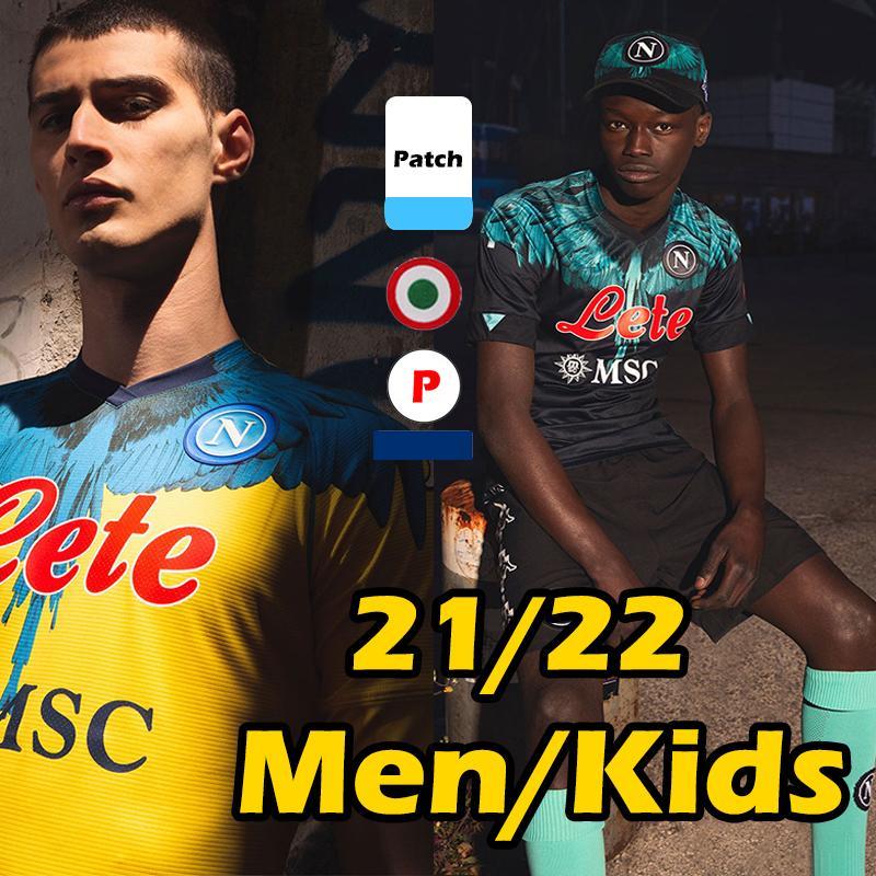 2021 2022 Napoli Soccer Jerseys Marcelo Burlon Maradona Maglietta Da Calciatore Osimhen Insigne 21/22 SSC نابولي Maglia Mertens Men Kids Kits Football Shirt Thai