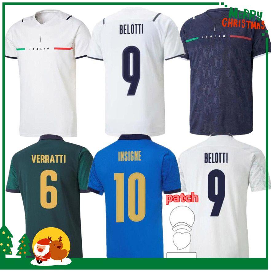 İtalya 2020 2021 Futbol Forması Ev Uzaktan Jorginho El Shaarawy Bonucci Insigne Bernardeschi Yetişkin Erkekler + Çocuk Kiti Futbol Gömlek