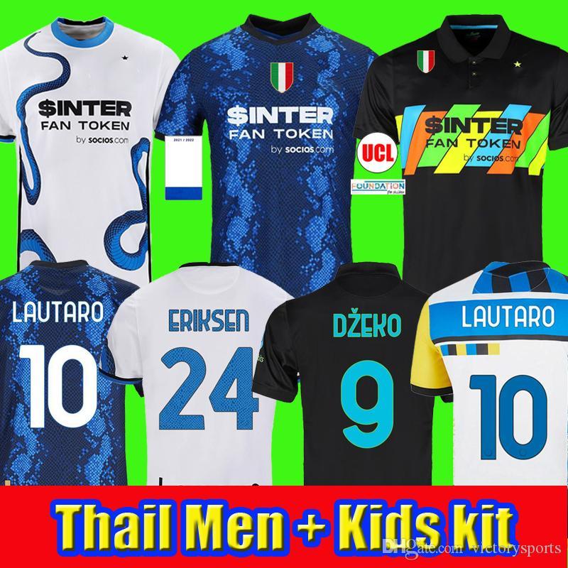 maillot de football 2021 Inter Milan VIDAL ERIKSEN LUKAKU LAUTARO ALEXIS SKRINIAR BARELLA maillots de football 20 21 uniformes hommes + kit enfants
