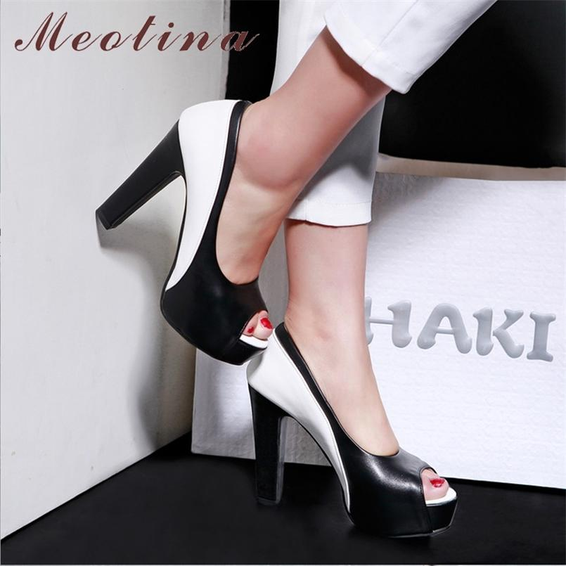 Meotina High Heels Schuhe Damen Plattform Spike High Heel Büro Dame Schuhe Mischfarben Peep Toe Pumps Frühling Blau Große Größe 33-45 210408