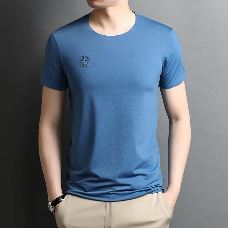 New short t-shirt men's summer thin loose simple round neck printing traceless quick drying ice silk half sleeve fashion