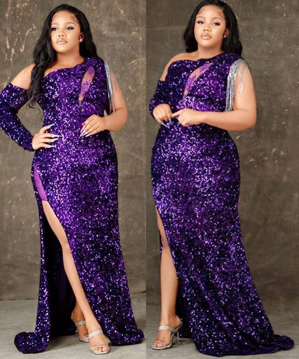 2021 Plus Size Arabic Aso Ebi Purple Sequined Sexy Prom Dresses High Split Lace Beaded Evening Formal Party Second Reception Bridesmaid Gowns Dress ZJ402