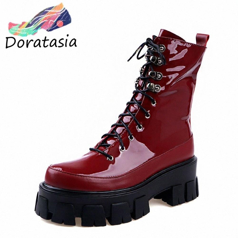 Mulher 2020 Moda Motos de Couro Genuíno Botas Chunky Heels Ankle Boots Mulher Sapatos Plataforma Shoelaces Sapatos Mulheres W5P0 #
