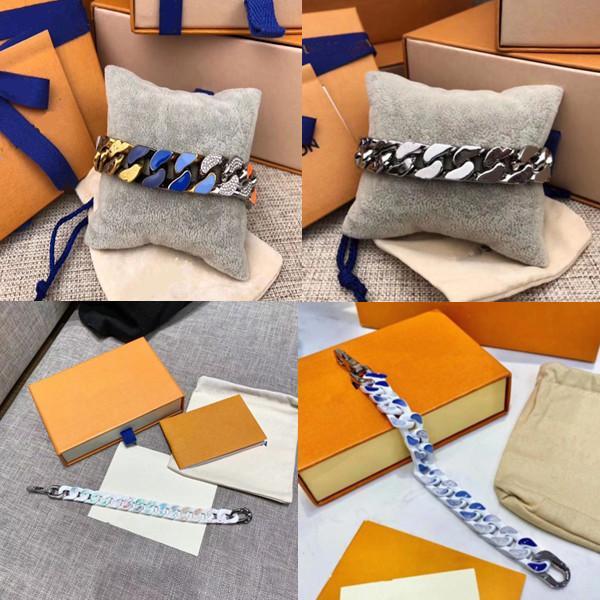8 Arten Luxus Schmuck Diamant 316L Titanium Herren Armband Stahl Gravalfarbener Emaille Dicke Kette Links Patches Hip Hop Halskette