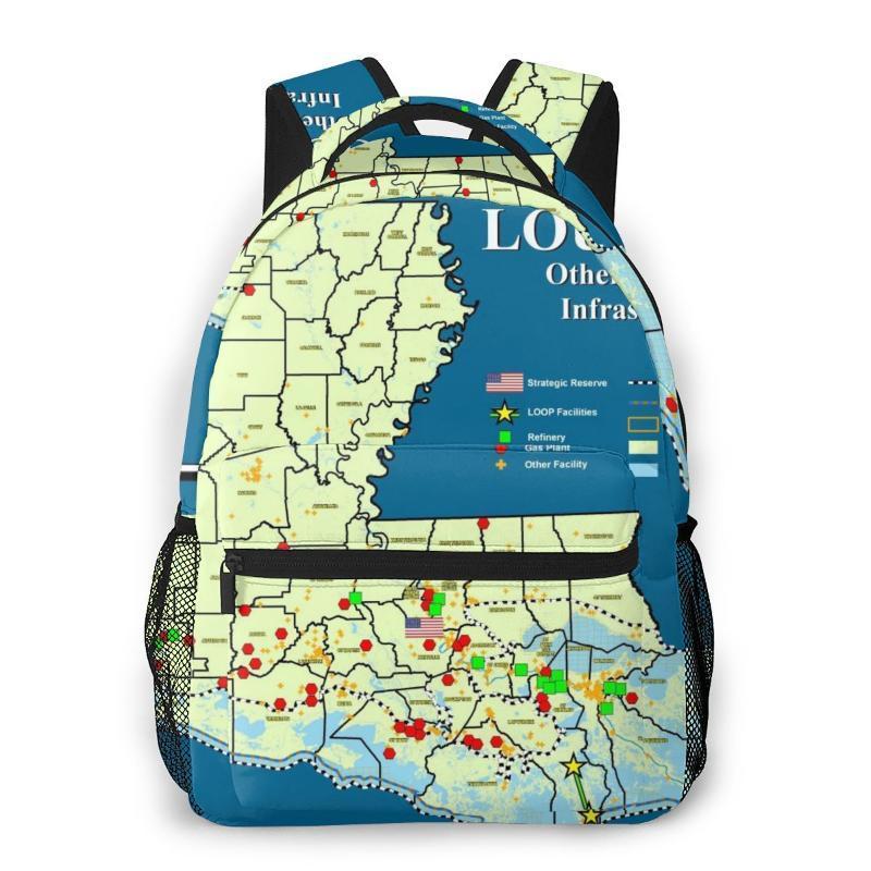 Sırt Çantası Durumu Louisiana Haritası Casual Daypack Seyahat Okul Çantası Kolej Öğrenci Erkek Kızlar için Cepli