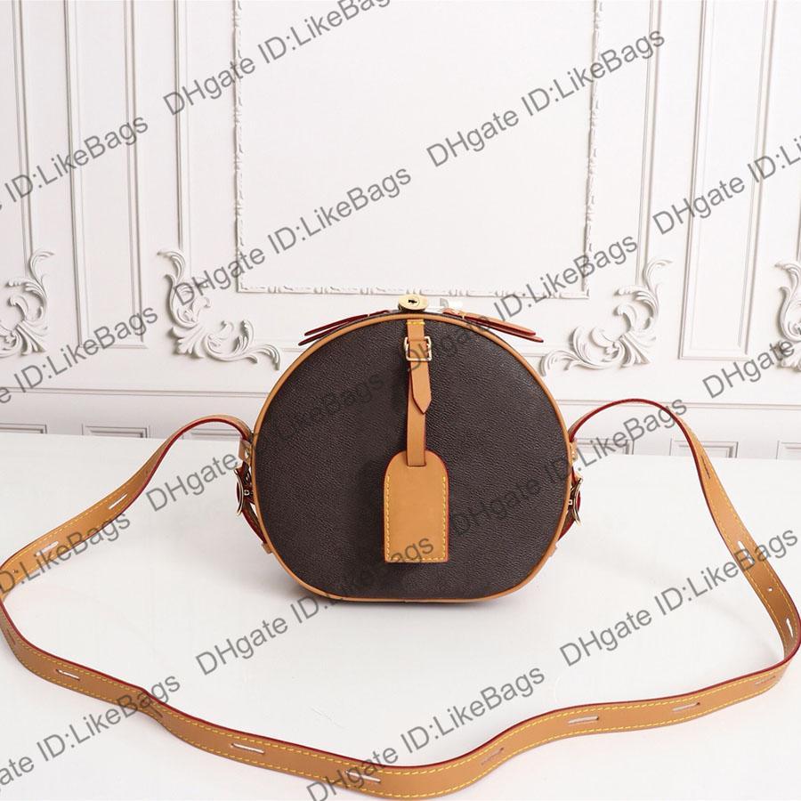 Womens Luxurys Designers Bolsos 2021 Boite Chapeau Souple Bolsos Bolsos Bolsos Crossbody Cucharón Cubo Cartera Embrague Mujer Real Genuine Cuero Círculo Redondo Cámara Bolsa de cámara