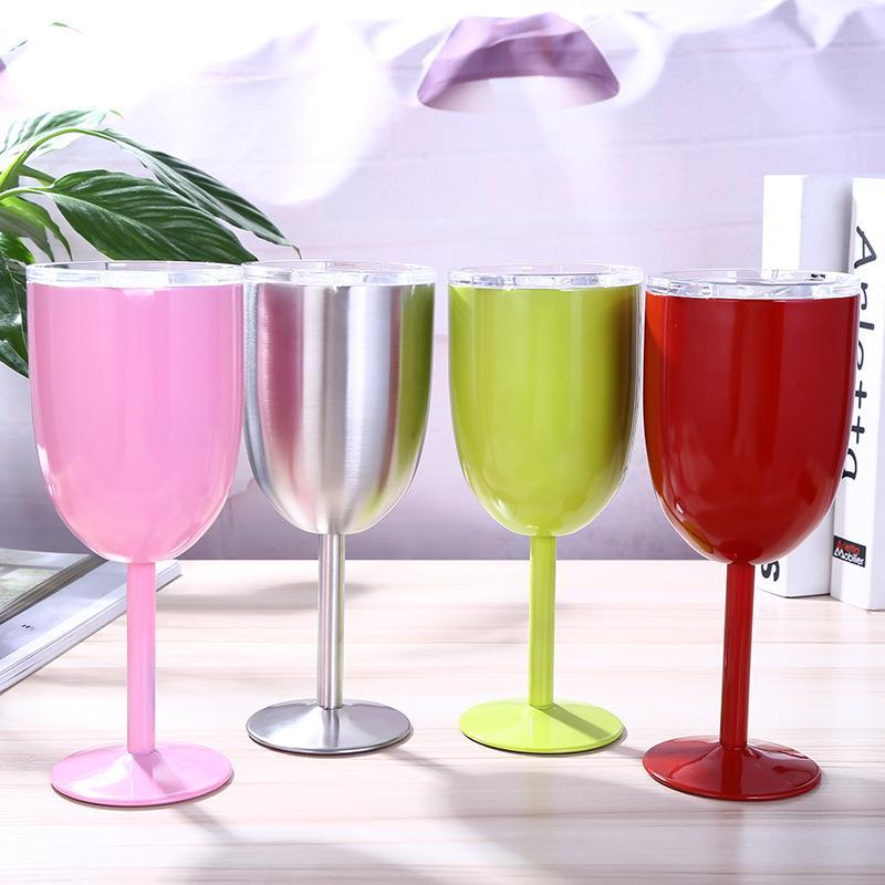 Vino in acciaio inox 10OZ in acciaio inox calice sigillato bicchiere di vino senza stempace tumbler a doppio vuoto con coperchio Unbreakeble per il party di viaggio casa