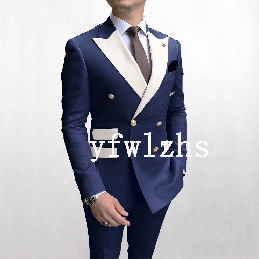Handsome Double-Breasted Groomsmen Peak Lapel Groom Tuxedos Mens Wedding Dress Man Jacket Blazer Prom Dinner suits (Jacket+Pants+Tie)W391