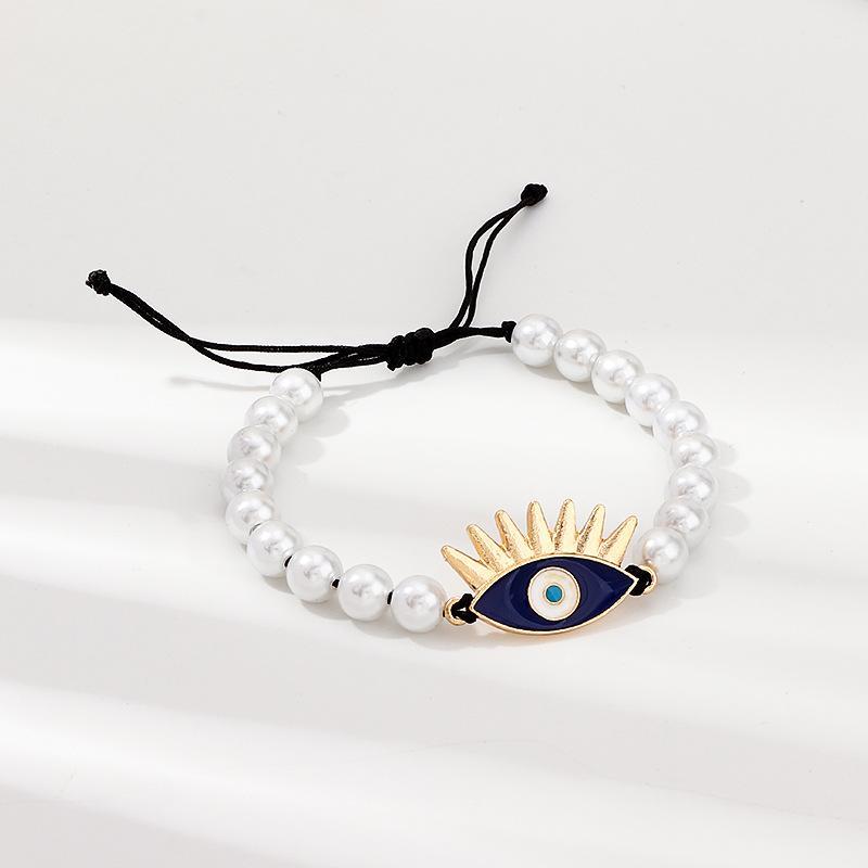Perle perlen türkisch böse augen charme armbänder geflochten schwarz seil einstellbar armreif glückliche augen armband für frauen mädchen männer vintage schmuck geschenk