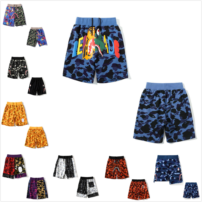 Pantalones cortos para hombres Pantalones de playa de mujer de alta calidad Luminoso camuflaje estrella tiburón cabeza cinco puntos casual m-3xl trae la bolsa de asas 0101