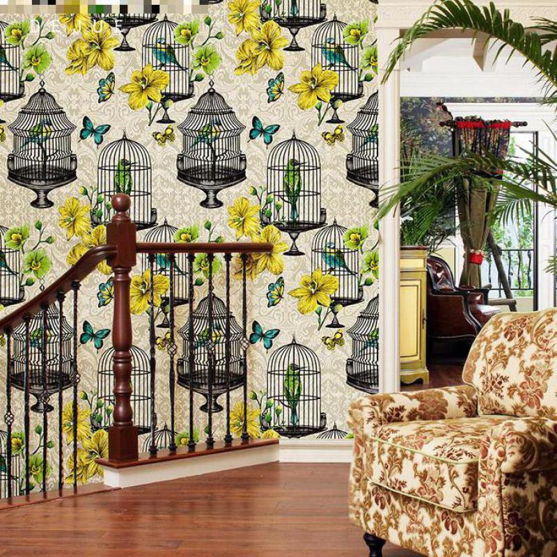 Pastoral tarzı çiçek ve kuş kafesi arka plan duvar kağıdı oturma odası yatak odası el 5.3 kare rulo duvar kağıtları