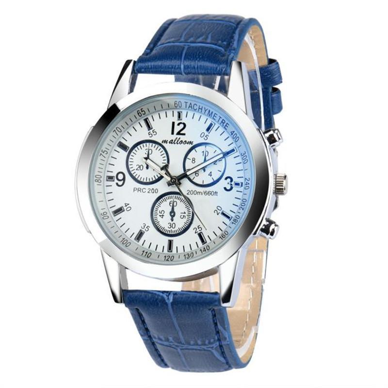 İzle Erkek Lüks Kuvars Moda Faux Deri Iş Mavi Ray Cam Analog Saatler -Selling Relogio Masculino A2 Saatı