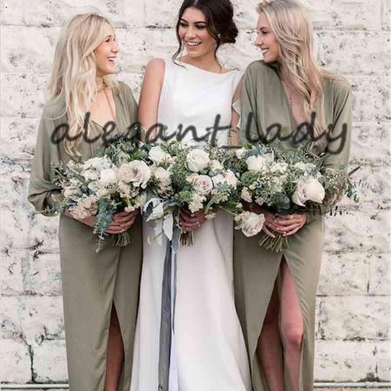 Olive Green Bohemian Long Sleeve Bridesmaid Dresses 2019 Modern V-neck Chiffon Slit Country Beach Junior Wedding Party Guest Gown