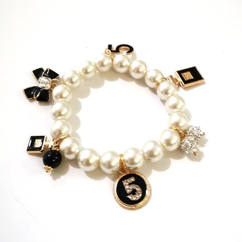 매력 구슬 펄 팔찌 여성을위한 펄렛 Bangles Bijoux Crystal No.5 럭셔리 C 팔찌 선물 쥬얼리 페르시, 가닥