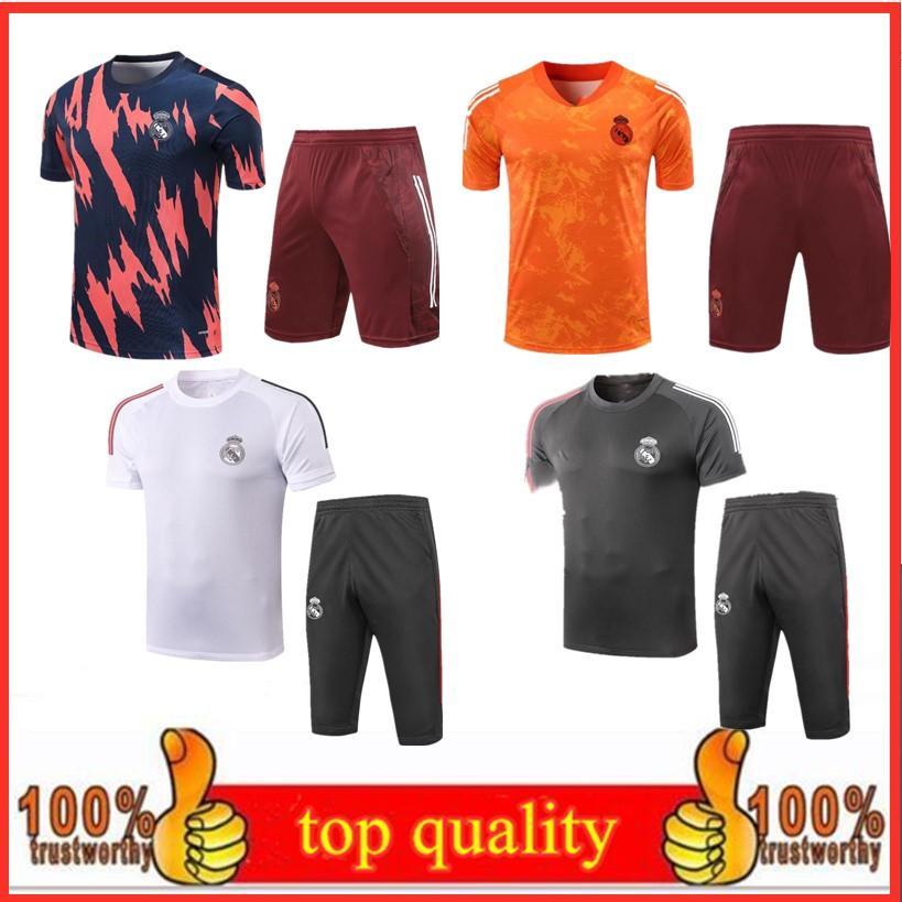 21/22 Mens Real Madrid Tracksuits Футбол тренировочный костюм с коротким рукавом 3/4 брюки наборы 21/22 Мужская футбольная рубашка трексуита