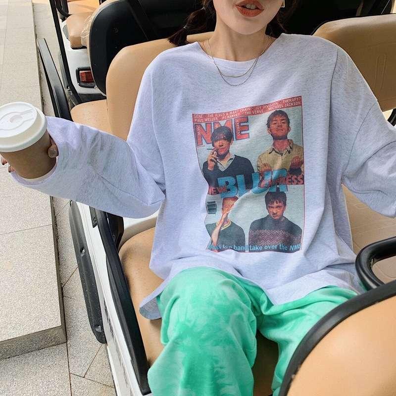 Günlük Elbiseler İlkbahar ve Sonbahar Stil Gevşek Boyutu Gösterisi İnce Ins Büyük Baskılı Uzun Kollu T-Shirt Dibe Kadınlar
