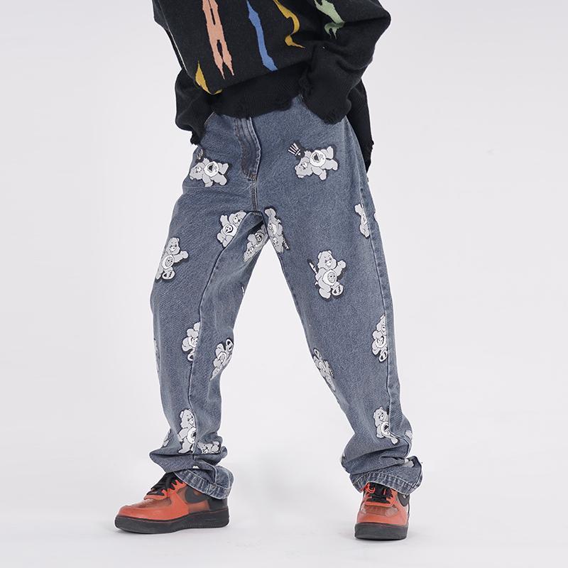 Jeans masculinos high street bordado bordado homens e mulheres largo perna lavada retro oversize casual denim calças