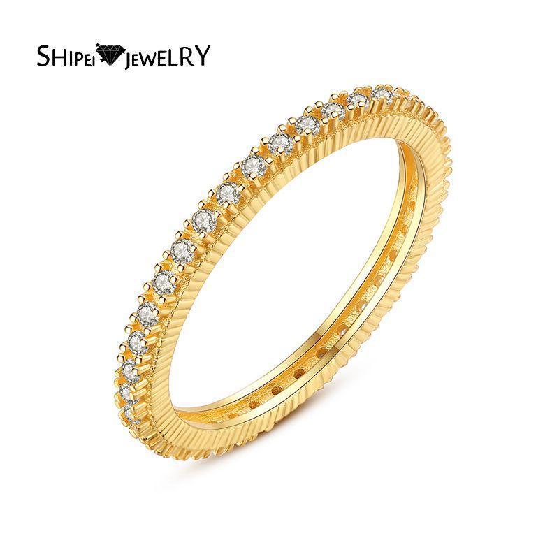 Shipei 925 Ayar Gümüş Oluşturulan Moissanite Taş Düğün Nişan Güzel Takı Klasik 18 K Sarı Altın Yüzük Kadın Kümeli Yüzükler Için