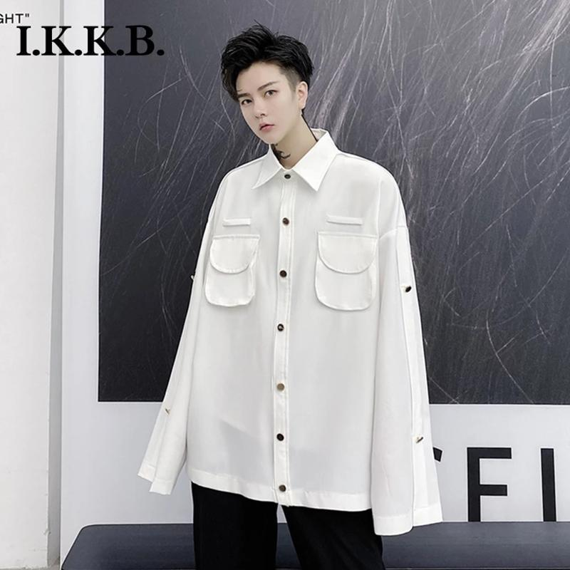 가을과 겨울 셔츠 남성 동향 3 차원 가방 느슨한 어두운 껍질 패션 복고풍 화이트 어깨 코트 남자 캐주얼 셔츠