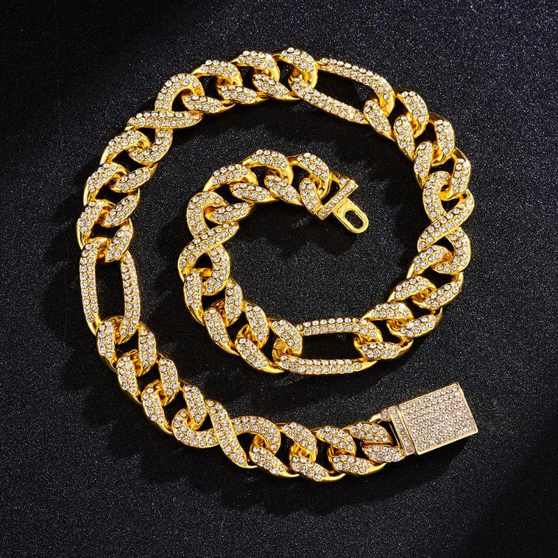 Chains 15mm 8 Number Shape Iced Out Cuban Link Chain Necklaces For Men Bracelet Trendy Charm Jewelry Set Hip Hop Luxury Choker