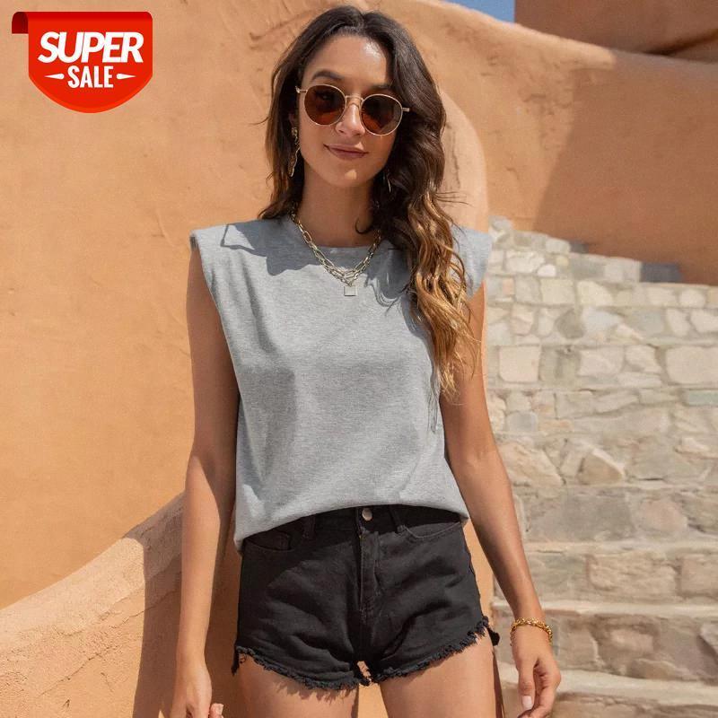 T-shirt Kadın Kolsuz Omuz Pedleri O-Boyun T-Shirt Üst Yaz 2021 Yeni Katı Renk Rahat Ince Streetwear Siyah Beyaz Tee Kadın X # RG7N