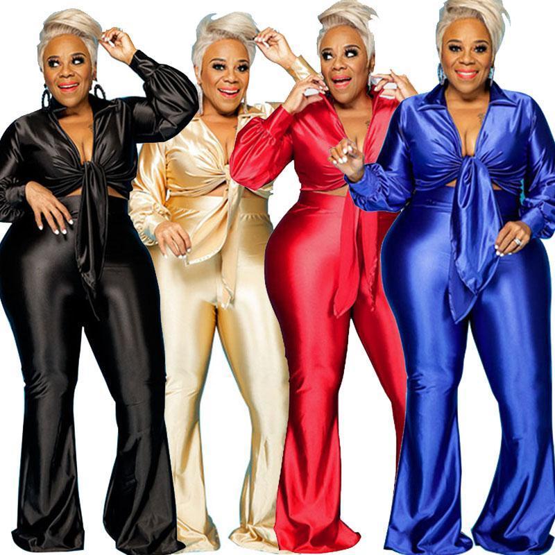 Tracksuits de Femme Plus Taille de la pièce Set Ensemble Femmes Anniversaire Tenue à manches longues Top à manches longues et Baggy High Taille Pantalons Pantalons Ensembles en gros