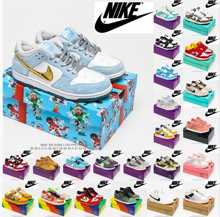 Supreme x Nk SB Dunk Low joint casual sports skateboard shoes OFF-WHITE x Nike Dunk Low x FL tripartite joint Dancing Bear