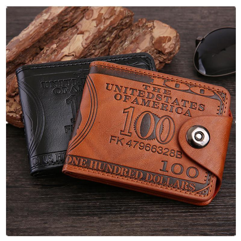 Bolsa de carteira de couro pu para homens dólar preço de preço curto clipe de dinheiro moeda fivela de bolso titular magnético cartão bolsa carteiras masculinas