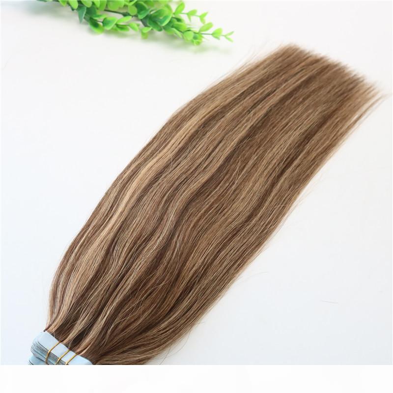 # 4 # 27 # 27Seamless İnsan Saç Uzantıları Ombre PU Bant Saç 100g 40 adet Set 14 ila 24 Inç Ombre Saç Piyano Renkli Saç Model