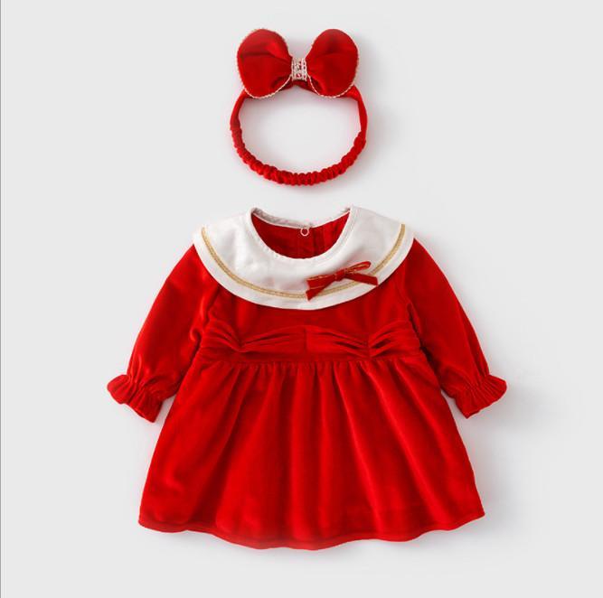 Autumn and winter dress plus fleece baby one year skirt Red velvet foreign style little girl princess