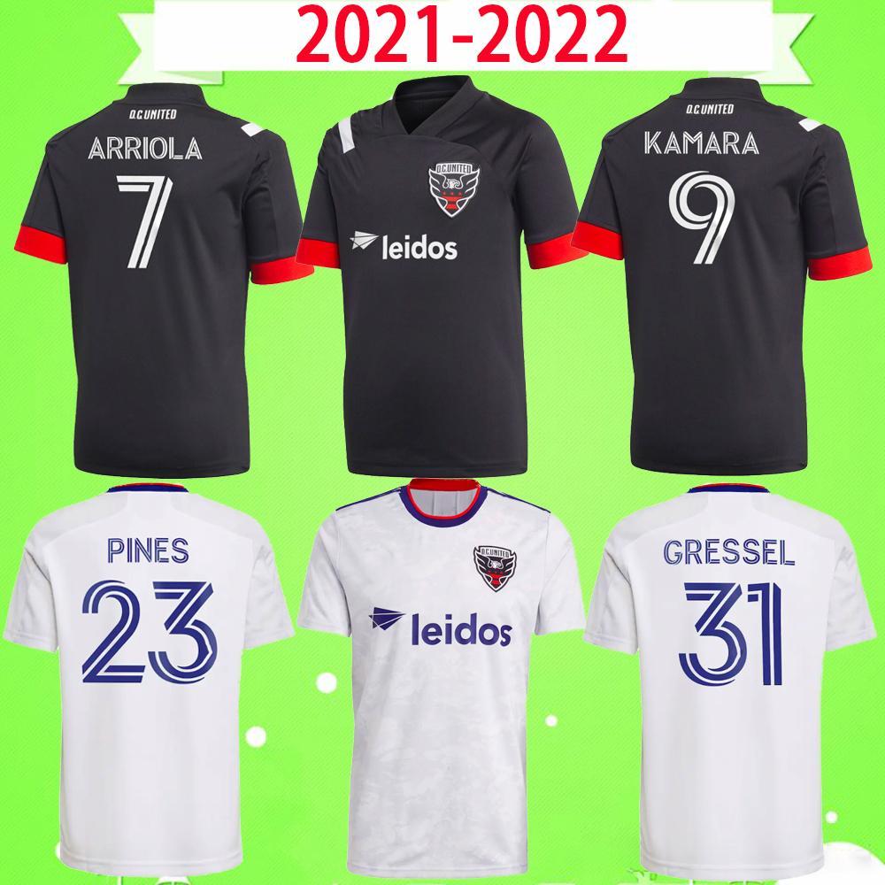 2021 2022 D.C. United Soccer Jersey Rooney Gressel Pines Arriola Flores Kamara 21 22 DC Black White Home Away Camicia calcio Camicia Thai Qualità Thai