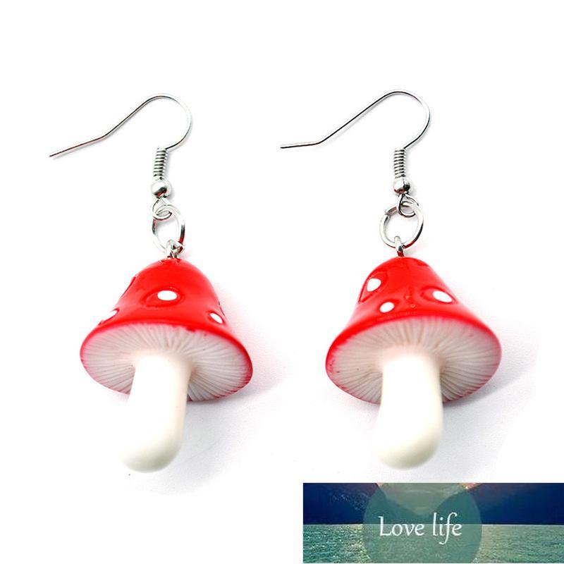 Creative Red Purple Acrylic Mushroom Pendant Earrings Fashion Women's Party Long Earring Accessories Sweet Girl Jewelry Gift