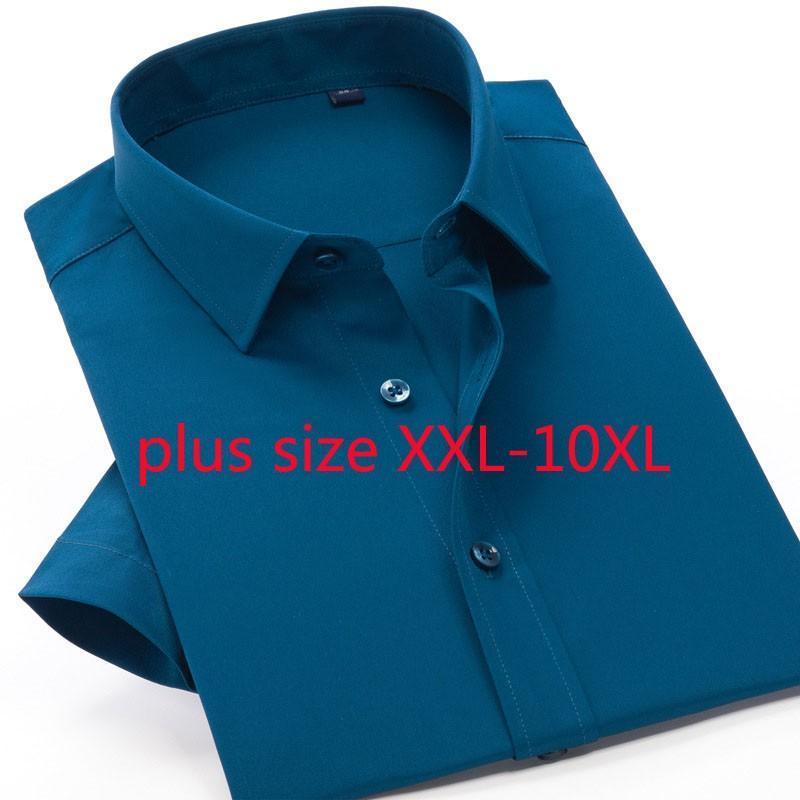 Прибытие мода лето с коротким рукавом растягивающие мужчины дополнительная одежда умные повседневные однобортные платья рубашки плюс размер 2xL-10xL мужские