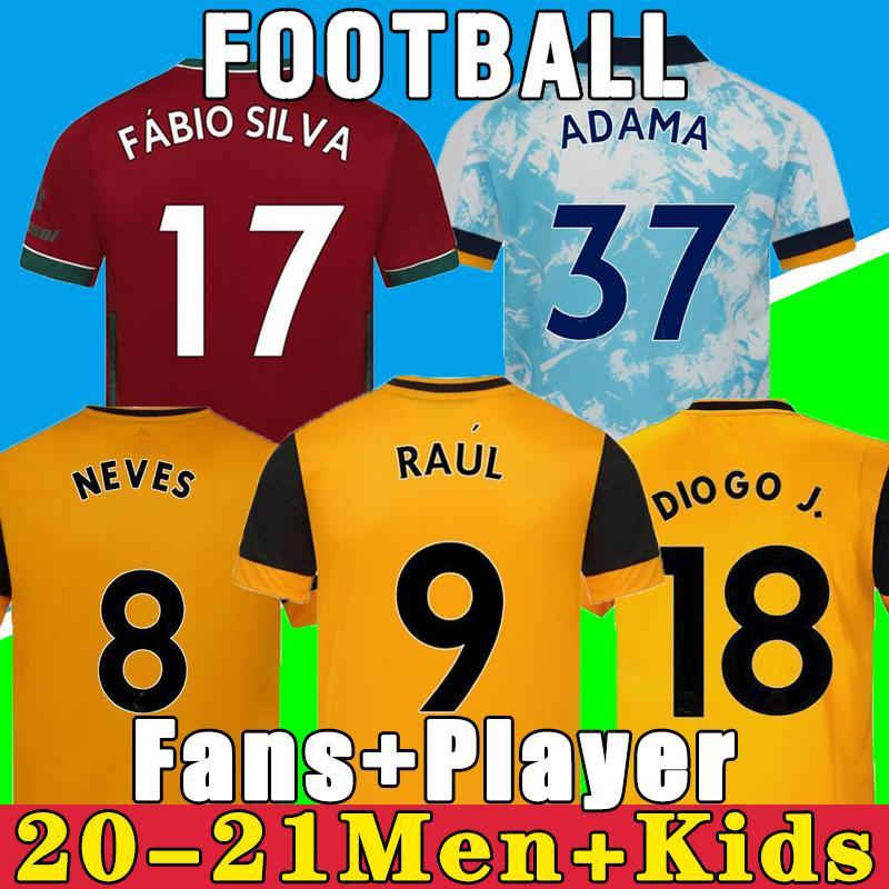 20 21 늑대 축구 유니폼 네 번호 Raul 2021 Adama Fábio Silva Podence Otto 축구 셔츠 남성 + 키즈 키트 유니폼
