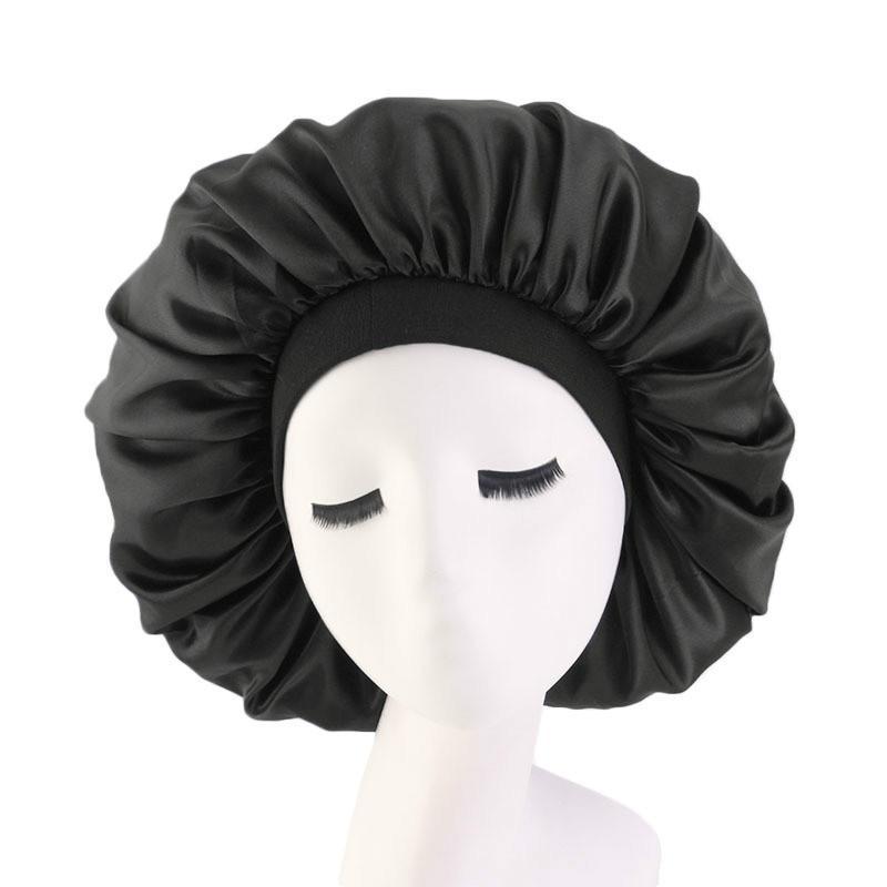 Alta elasticidad Wide-Brimmed Mujer Turban Hat Hat Print Silk Bonnet Sleep Gorra para accesorios para el cabello Beanie / Tapas de cráneo