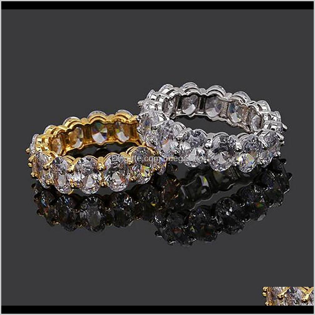 Solitaire 18K Gold Plated Love Heart Oval Round Stones Bling Rings Cubic Zirconia Micro Pave Diamonds Hip Hop Ring For Men And Women N 3S1Gh