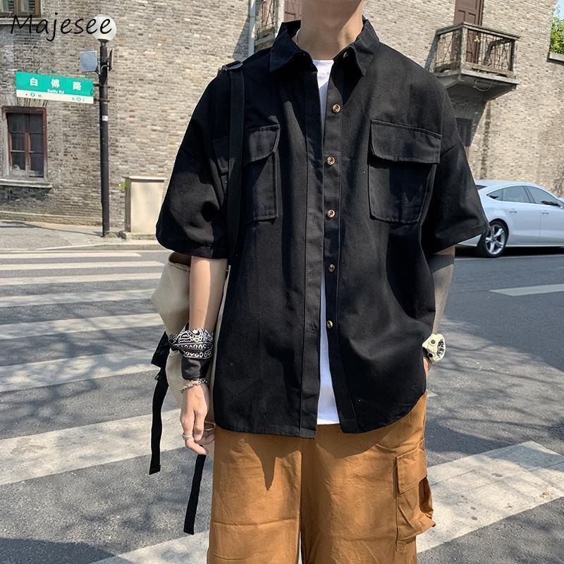 Männer Shirts Solide Taschen Einfache Einreiher Beiläufige Streetwear Lose Mens Tops Mode Thin Soft Chic Safari Kleidung Outwear1