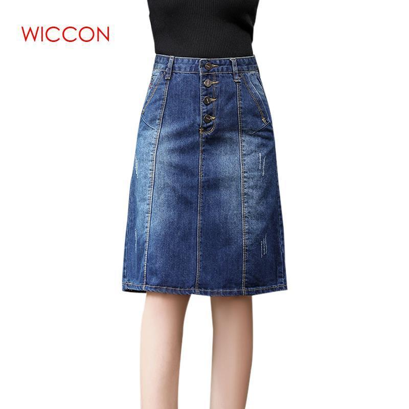 Röcke 3XL Hohe Qualität Herbst Denim Womens Taille Knielange Button Taschen Jeans Rock Casual A-Line Damen Faldas