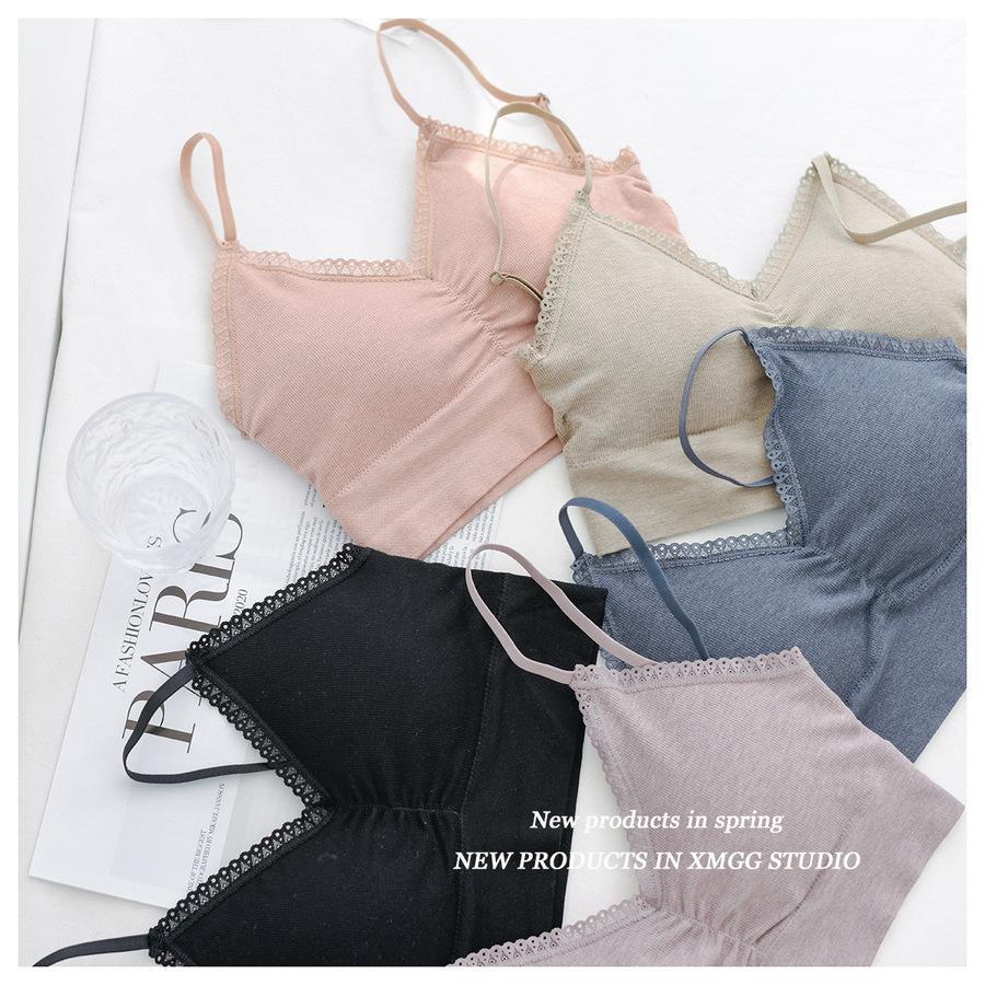 Compre la primavera verano japonés coreano en forma de U Chaleco de suspensión para mujeres con cinturón fino y sujetador AMR4