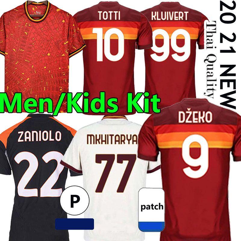 قميص كرة القدم Zaniolo Dzeko Pastore روما Totti Kluivert Koluivert Kolarov 20 21 كرة القدم قميص 2020 2021 رجالي + أطفال كيت موحدة مايلوت الثالث