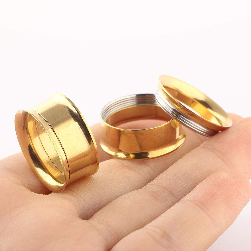 Stainless Steel gold internally Ear Tunnel Body Jewelry double Flare plugs gauges Piercing