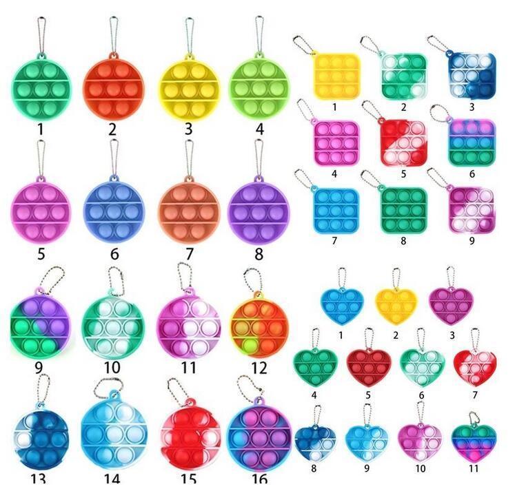 Silicone toys partys keychain anti-pressure bubble board decompression toy Fidget infant intelligence development pendant