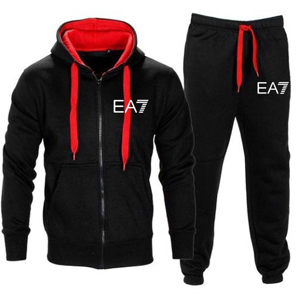2021 Men's Fall / Winter Sportswear Hoodie + Calças Harajuku Terno Esportivo Running Sportswear Terno Impresso Camisa Esportiva Top Calças Terno