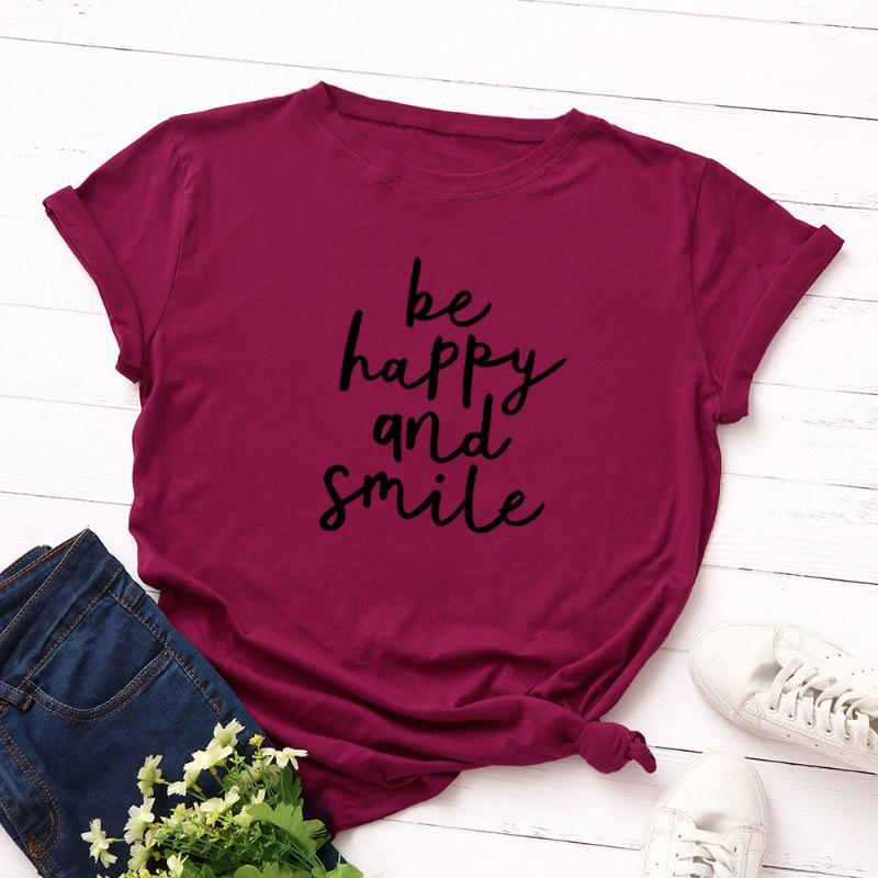 Be Happy And Smile Tshirt Woman Summer Short Sleeve Tee Female Top Casual T Shirts Women's T-Shirt