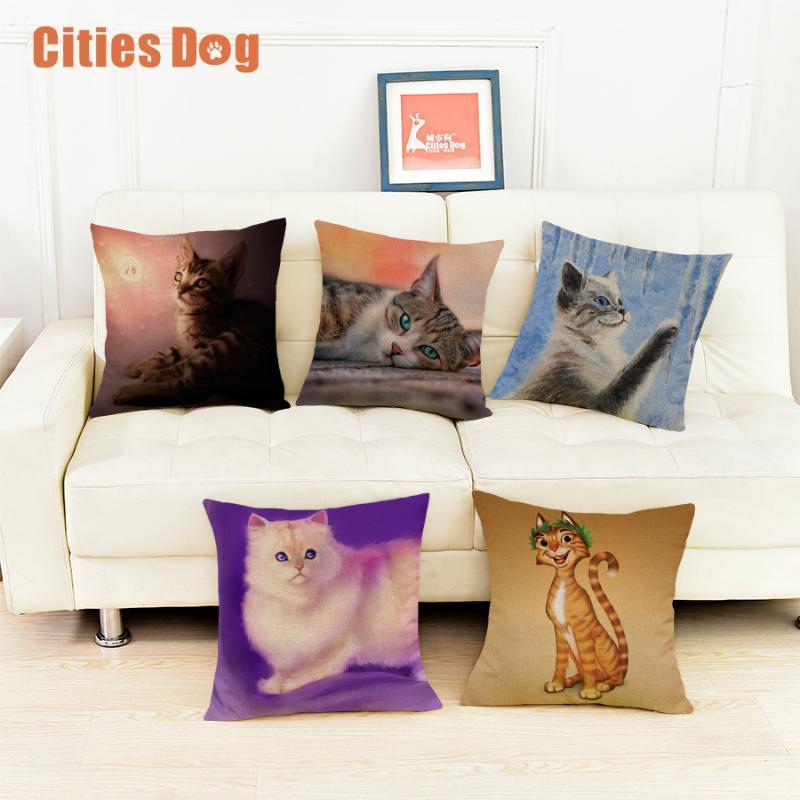 Cat Animal Impreso de algodón Caso de almohada Almohadas Decorativas Cubiertas Cubierta Cubierta Uso para Sofá Home Sofá Oficina de Coche Almofadas Cojín / Decorativo