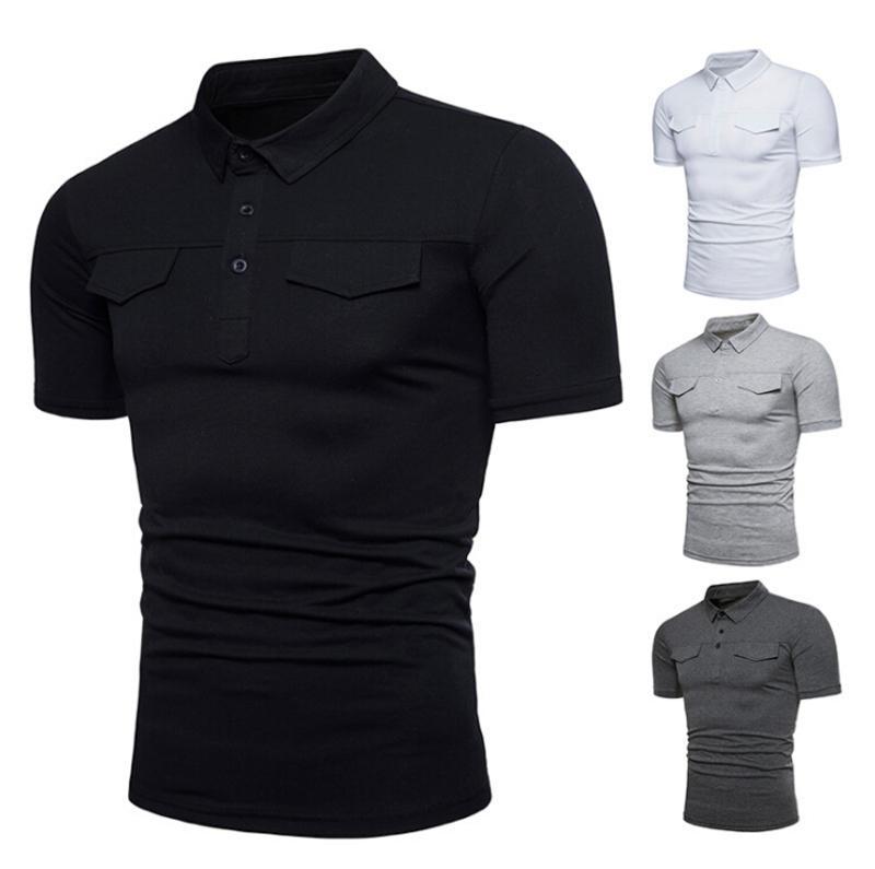 Рубашки с карманами Сплошной с коротким рукавом Летняя повседневная базовая футболка 4 цвета Fit Slim Mens