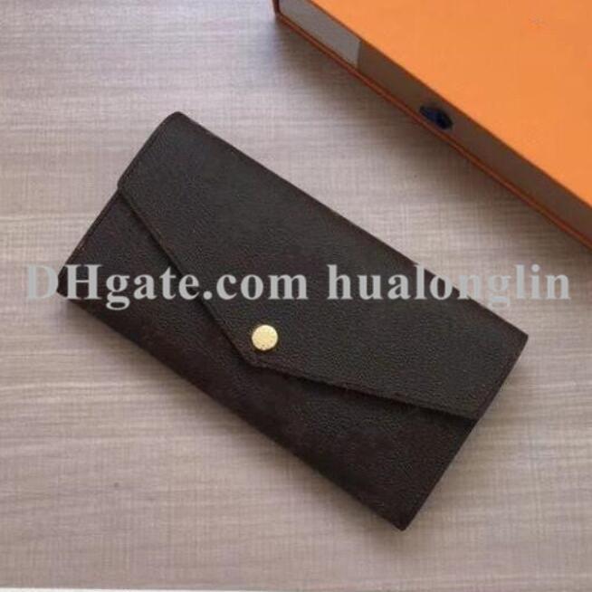 High Quality Woman wallet purse card holder case original box flower grid checkers zipper fashion lady clutch