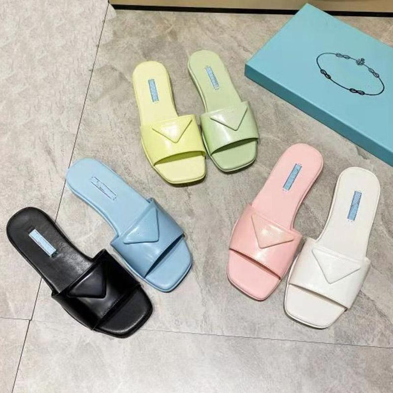 Frauen Sandalen Modedesigner Flachfolien Flip Flops Open Edge Perlen Echtes Leder Hausschuhe Frau Cinehide Womens Sandale US 4.5-9.5